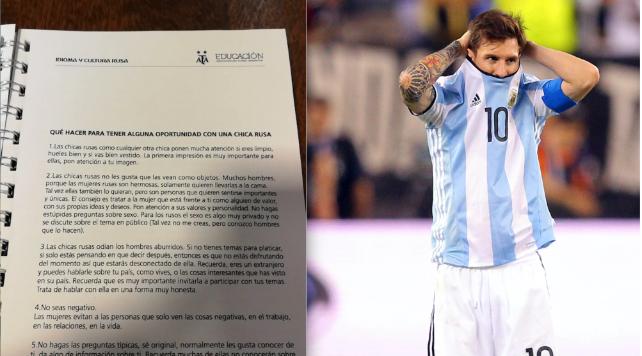 干嘛去的?阿根廷足协的世界杯手册竟然教球员——如何钓一个俄罗斯姑娘