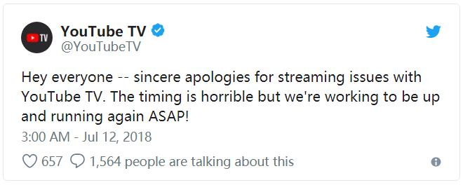 世界杯半决赛期间YouTube直播信号大规模中断,付费用户纷纷表达不满