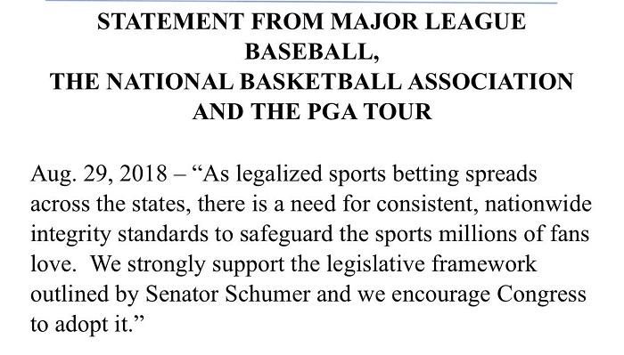 参议员建议全美范围规范体育博彩,NBA、MLB等联盟表示支持