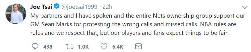 布鲁克林篮网老板蔡崇信推特发表不当言论,被NBA罚款3.5万美元