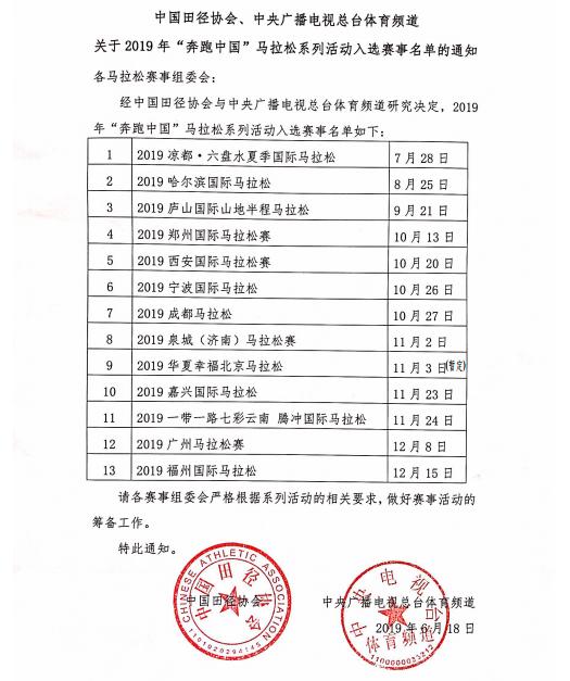 """13站马拉松入选""""奔跑中国""""系列赛事,相比去年减少一半"""