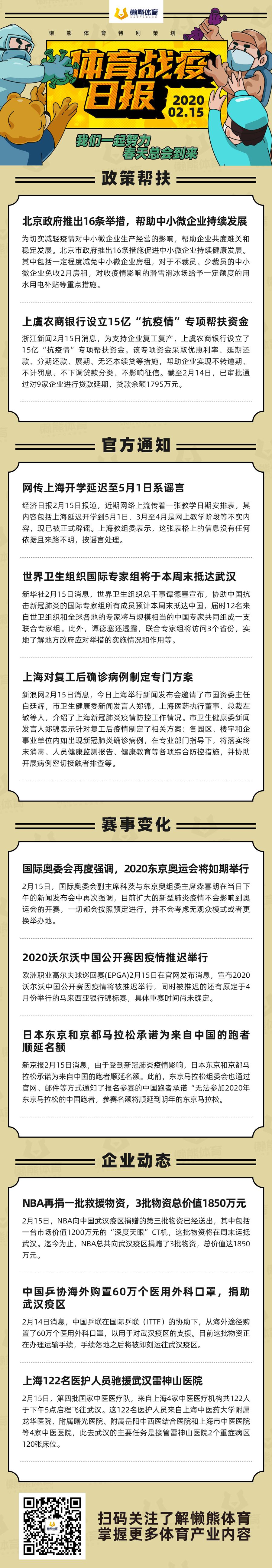 世界卫生组织国际专家本周末抵达武汉,上海122名医护人员驰援雷神山医院 | 体育战疫日报0215