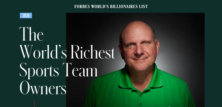 福布斯公布最新体育富豪榜,鲍尔默领衔