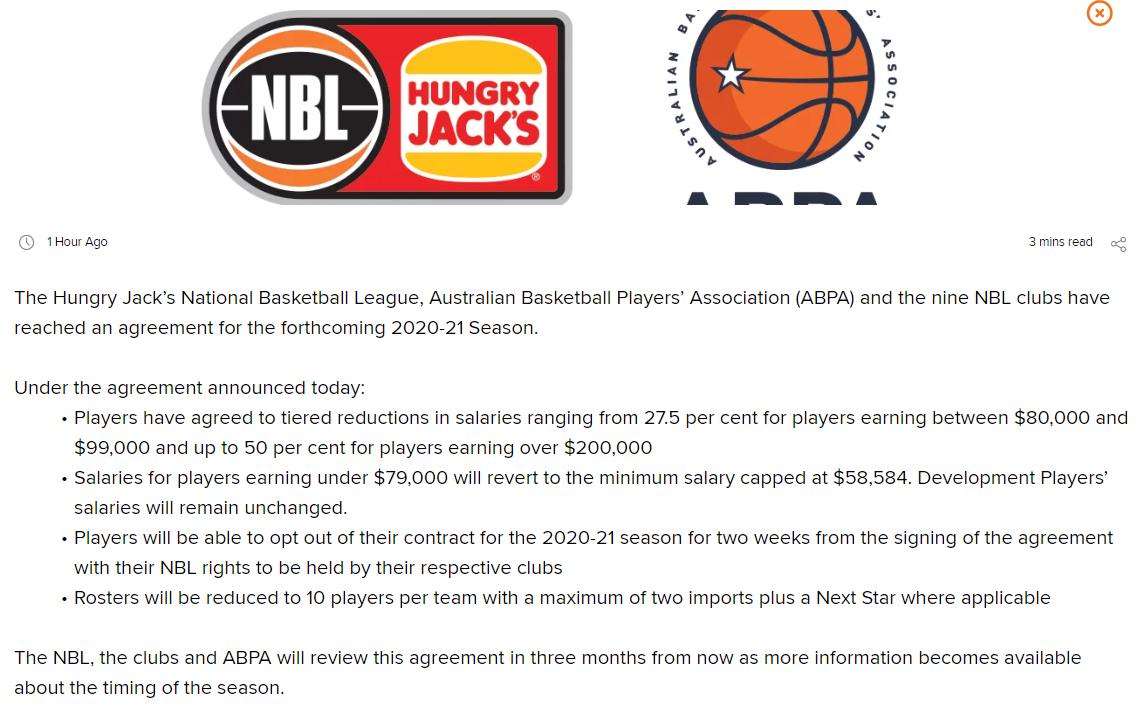 澳洲NBL发布声明:新赛季球员将集体降薪+名单减员